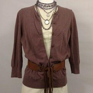 Mauve Purple Cardigan Ann Taylor Cashmere 3/4sleve
